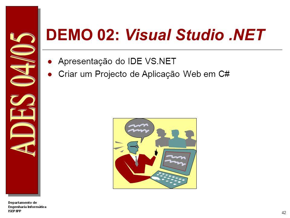 41 Estrutura de Ficheiros da Aplicação Web wwwroot Bin Inetpub ProjectA My Documents Development Files Assembly Files WebForm1.aspx WebForm1.aspx.cs (