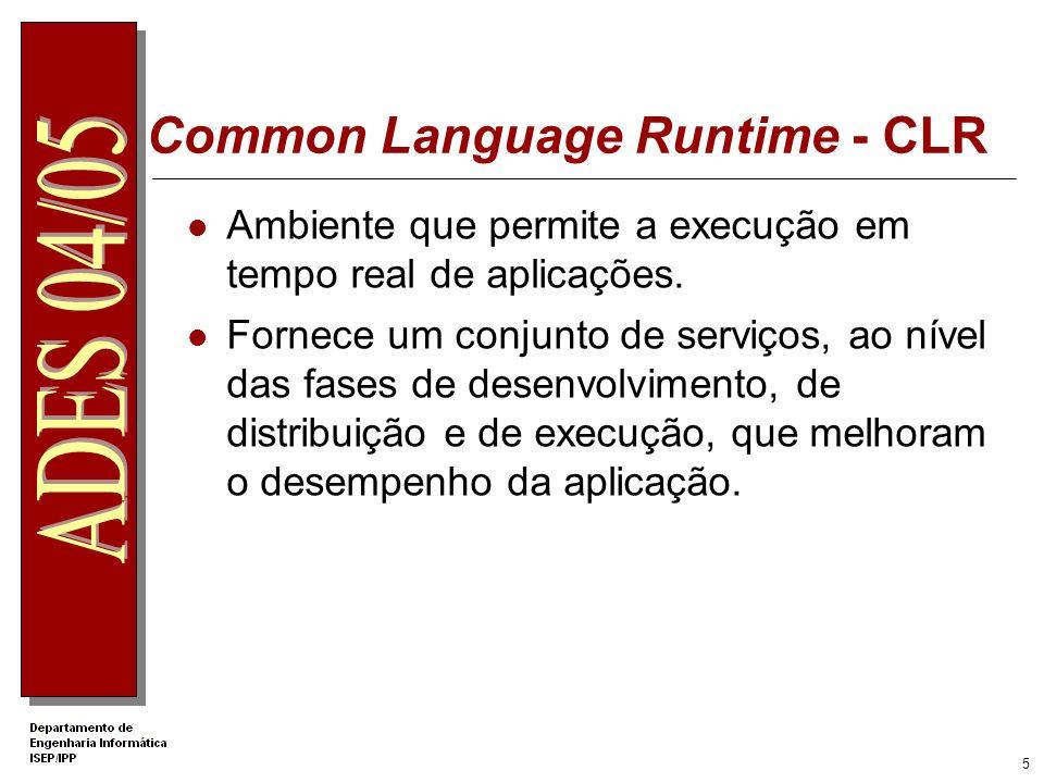 5 Common Language Runtime - CLR Ambiente que permite a execução em tempo real de aplicações.