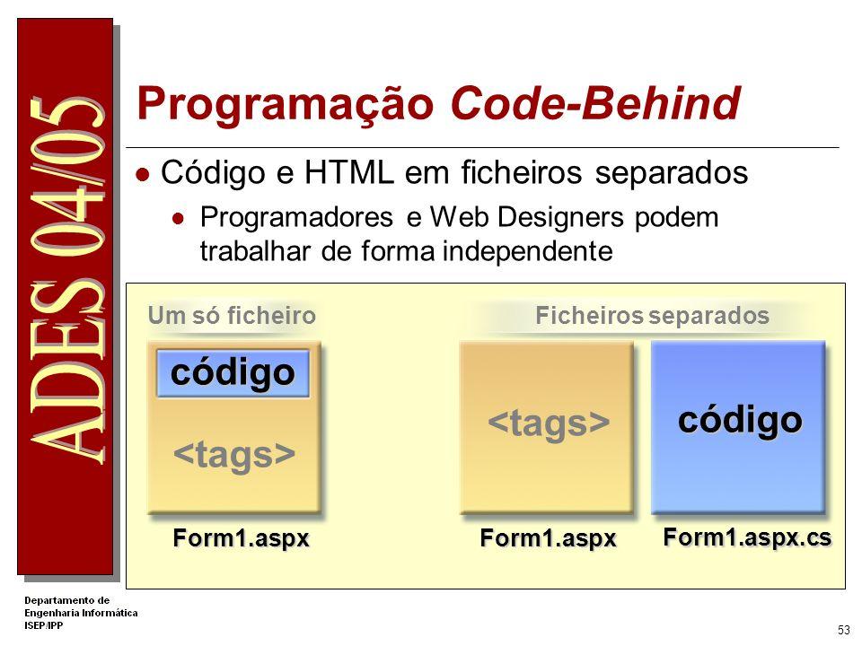 52 Programação Inline Definição dos controlos e código no mesmo ficheiro Secções separadas para o código e para o HTML private void btn_Click(object s