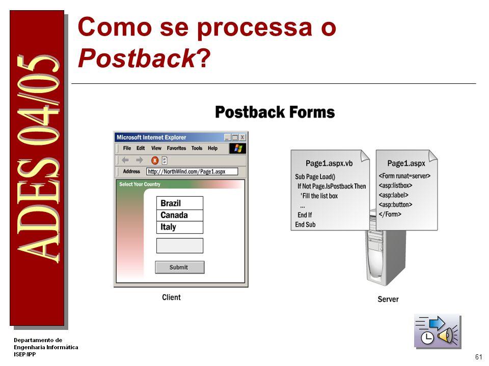 60 Tratamento do evento Postback - uso de Page.IsPostBack O evento Page_Load ocorre em cada pedido á página. A propriedade IsPostBack do objecto Page