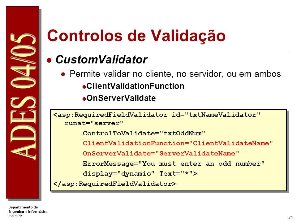 70 Controlos de Validação RegularExpressionValidator Permite confrontar valores com expressões regulares O VS.NET já inclui algumas expressões regular