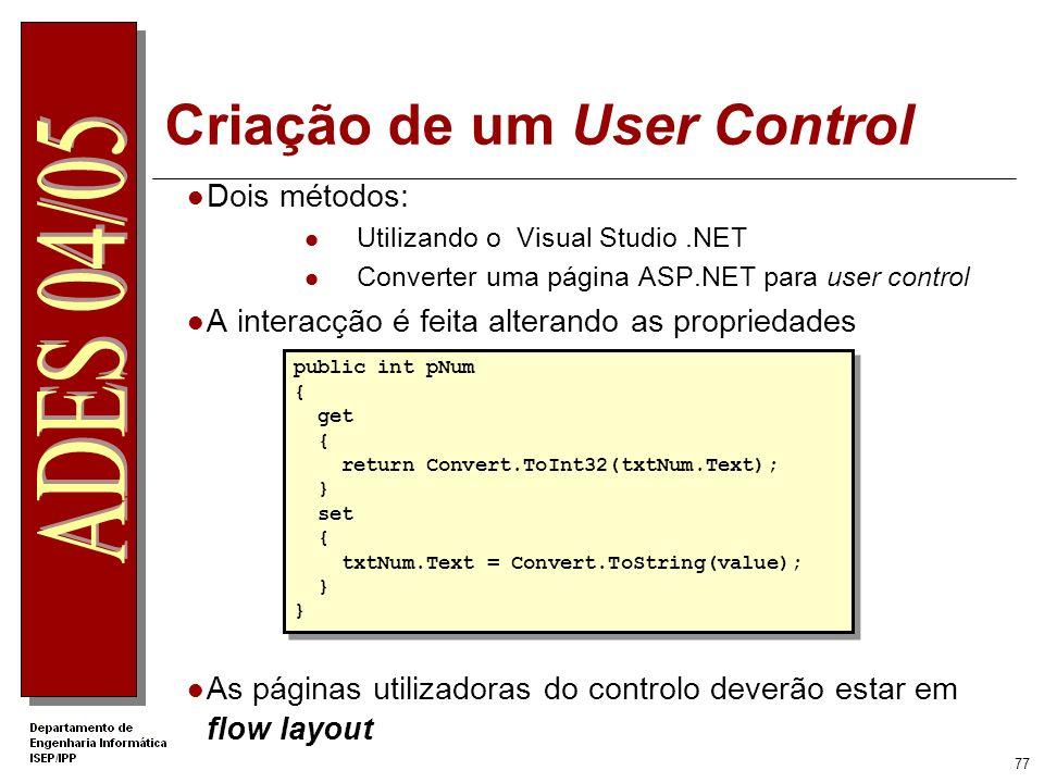 76 Porquê utilizar User Controls? Reutilização de componentes de interface e de código Page2.aspx Control1.ascx Page1.aspx Page3.aspx Aplicação AAplic