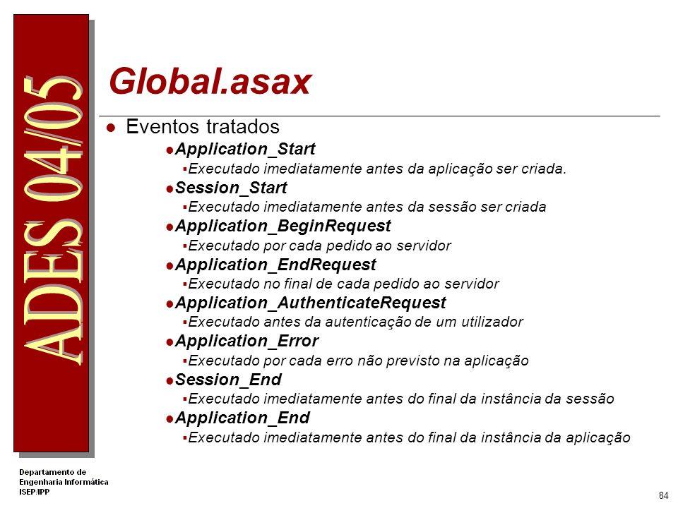 83 Global.asax Só um ficheiro Global.asax por aplicação Web Colocado na raiz da directoria virtual Utilizado para tratar os eventos dos objectos Appli