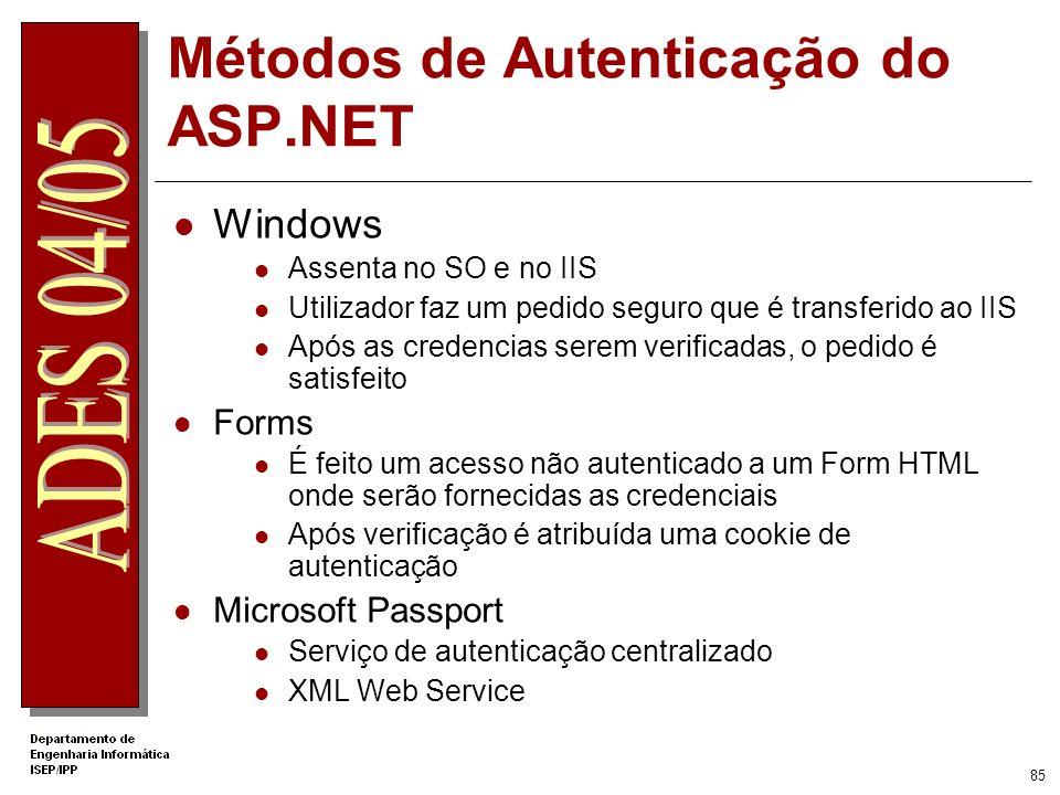 84 Global.asax Eventos tratados Application_Start Executado imediatamente antes da aplicação ser criada. Session_Start Executado imediatamente antes d