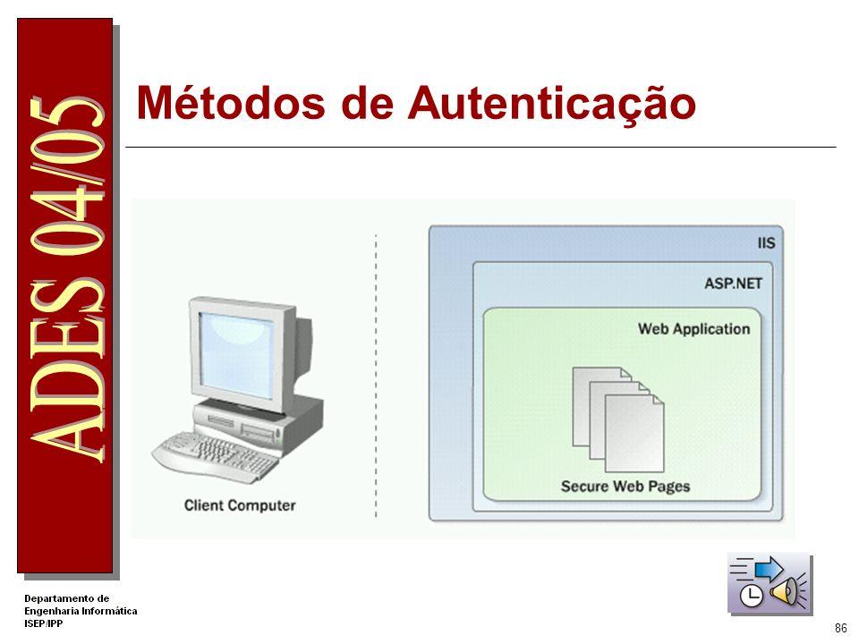 85 Métodos de Autenticação do ASP.NET Windows Assenta no SO e no IIS Utilizador faz um pedido seguro que é transferido ao IIS Após as credencias serem