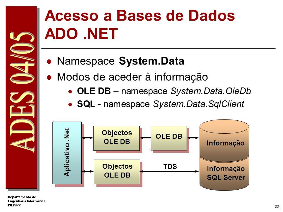 87 Comparação entre os Métodos de Autenticação MétodoVantagensDesvantagens Windows Utiliza infra-estrutura Windows Controla acesso a informação sensív