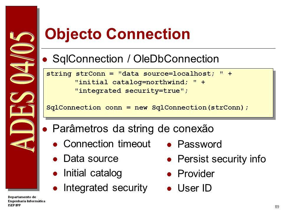 88 Acesso a Bases de Dados ADO.NET Namespace System.Data Modos de aceder à informação OLE DB – namespace System.Data.OleDb SQL - namespace System.Data