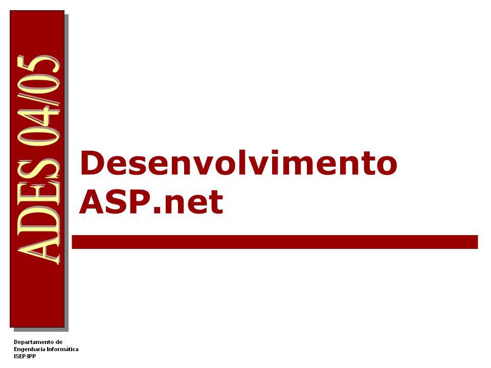 96 Tutoriais http://www.gotdotnet.com/ http://www.w3schools.com/aspnet/ http://www.asp-php.net/tutorial/asp.net/ http://www.dei.isep.ipp.pt/ades/