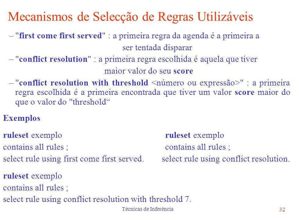 Técnicas de Inferência 32 Mecanismos de Selecção de Regras Utilizáveis –
