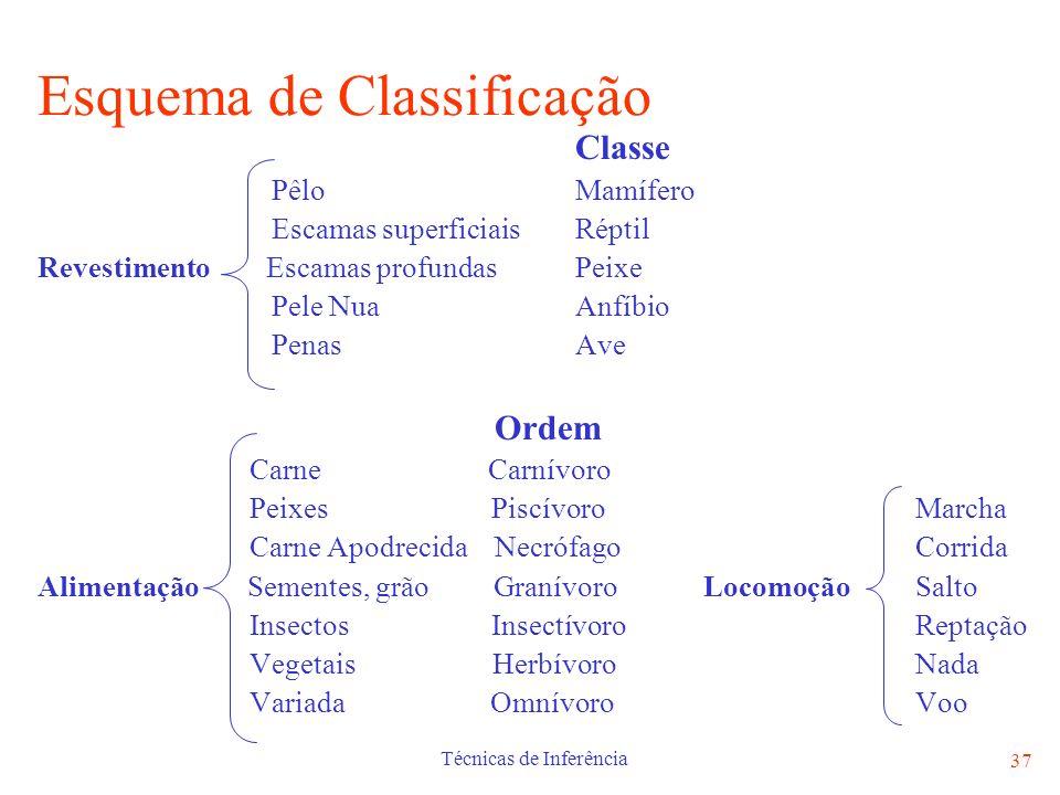 Técnicas de Inferência 37 Esquema de Classificação Classe Pêlo Mamífero Escamas superficiais Réptil Revestimento Escamas profundas Peixe Pele Nua Anfí