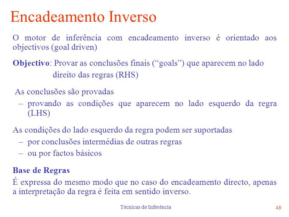 Técnicas de Inferência 48 Encadeamento Inverso O motor de inferência com encadeamento inverso é orientado aos objectivos (goal driven) Objectivo: Prov