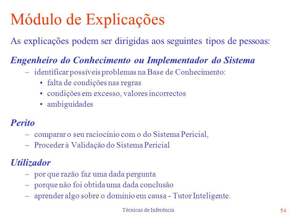 Técnicas de Inferência 54 Módulo de Explicações As explicações podem ser dirigidas aos seguintes tipos de pessoas: Engenheiro do Conhecimento ou Imple