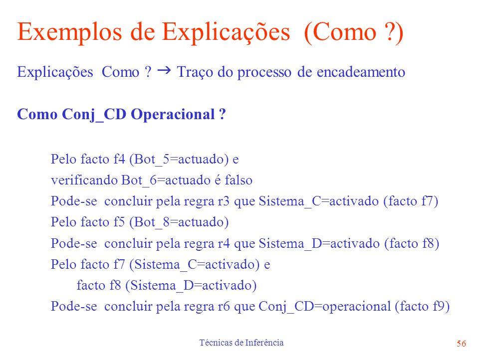 Técnicas de Inferência 56 Exemplos de Explicações (Como ?) Explicações Como ? Traço do processo de encadeamento Como Conj_CD Operacional ? Pelo facto