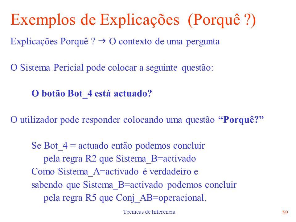 Técnicas de Inferência 59 Exemplos de Explicações (Porquê ?) Explicações Porquê ? O contexto de uma pergunta O Sistema Pericial pode colocar a seguint