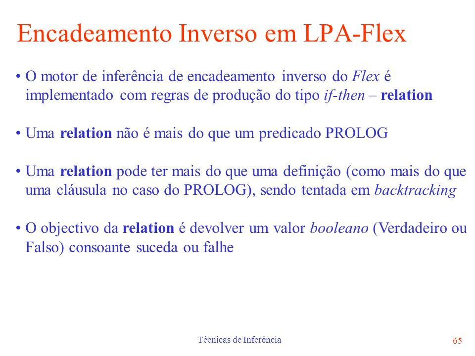 Técnicas de Inferência 65 Encadeamento Inverso em LPA-Flex O motor de inferência de encadeamento inverso do Flex é implementado com regras de produção