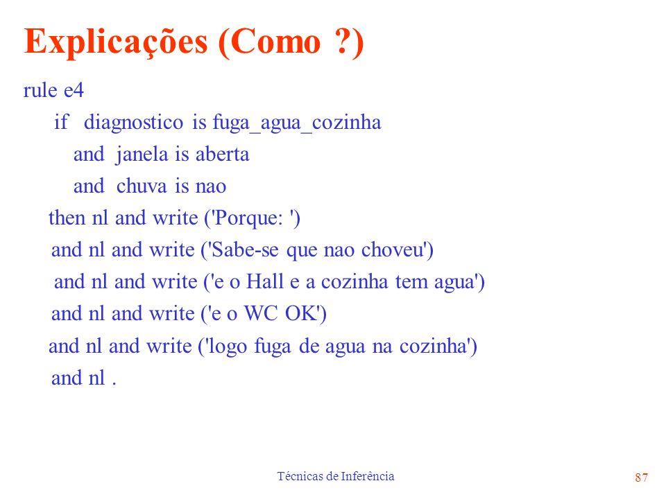 Técnicas de Inferência 87 Explicações (Como ?) rule e4 if diagnostico is fuga_agua_cozinha and janela is aberta and chuva is nao then nl and write ('P