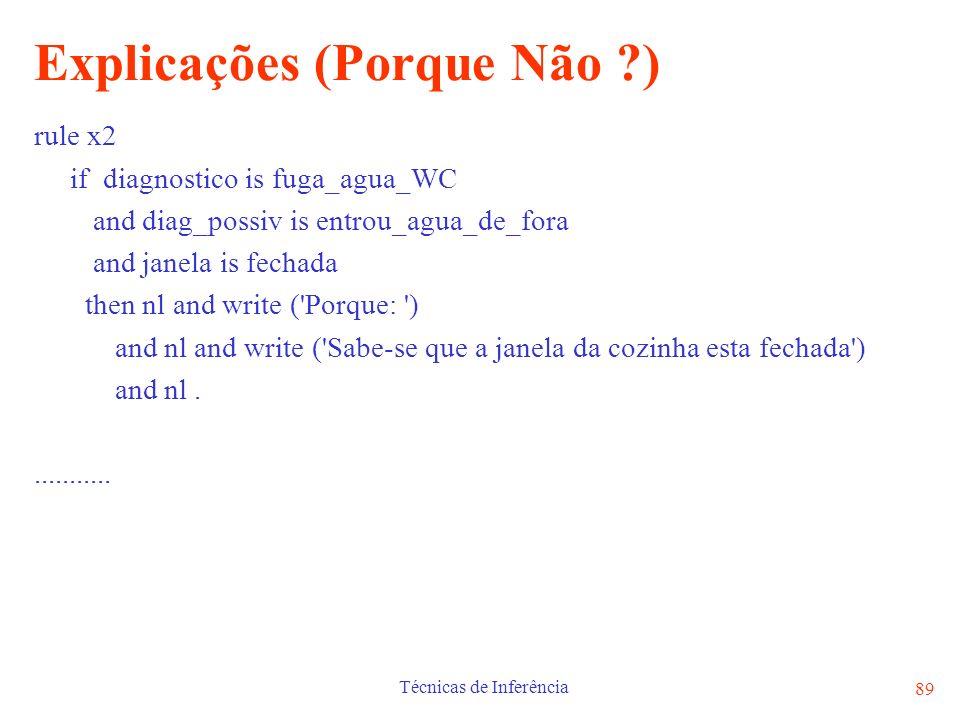 Técnicas de Inferência 89 Explicações (Porque Não ?) rule x2 if diagnostico is fuga_agua_WC and diag_possiv is entrou_agua_de_fora and janela is fecha