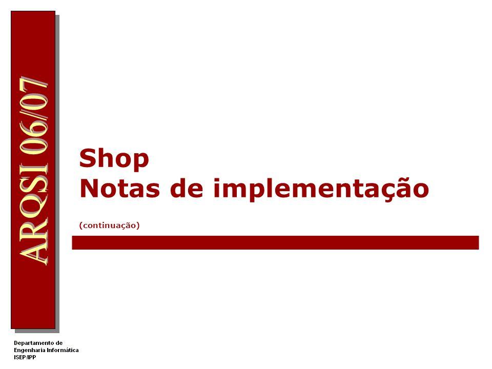 Shop Notas de implementação (continuação)