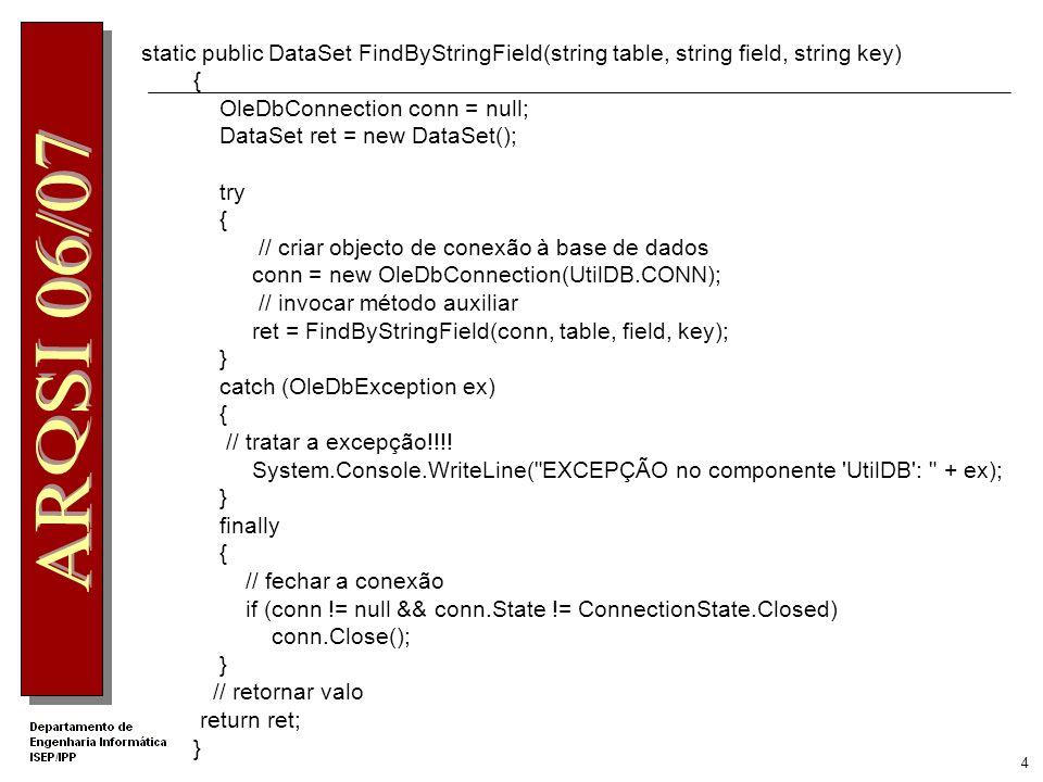 24 Validar Produtos e Quantidade… if (RsDetails.Tables[ SaleDetails ].Rows.Count == 0) return ShopStatusEnum.InvalidArgument; int[ ] listaProd = new int[RsDetails.Tables[ SaleDetails ].Rows.Count]; int i = 0; foreach (DataRow regDetails in RsDetails.Tables[ SaleDetails ].Rows) { if (regDetails.IsNull( ProductID )) return ShopStatusEnum.InvalidArgument; if (regDetails.IsNull( Quantity )) return ShopStatusEnum.InvalidArgument; // verificar se este produto tem quantidade suficiente em stock e se existe.