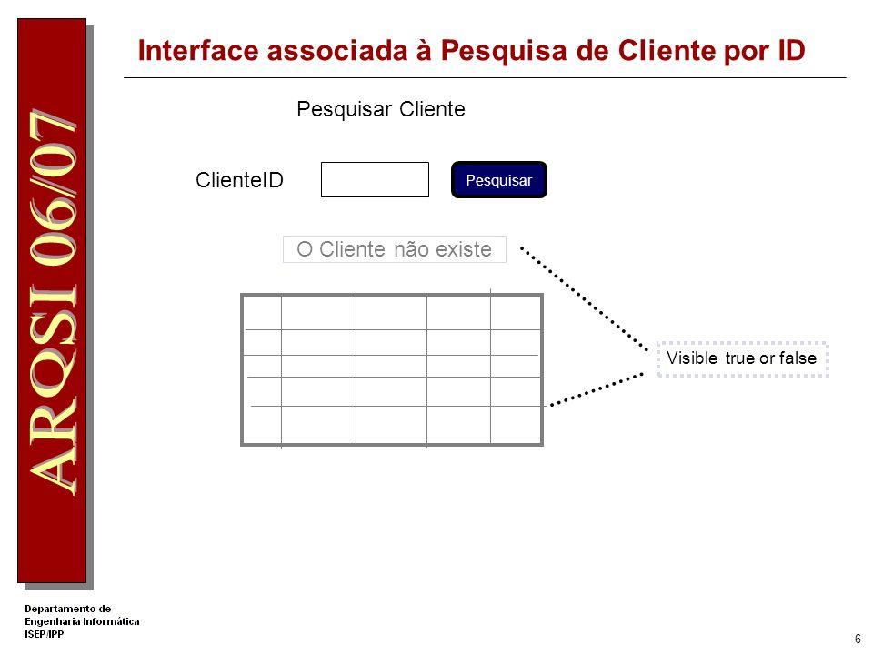 6 Interface associada à Pesquisa de Cliente por ID Pesquisar Cliente ClienteID O Cliente não existe Pesquisar Visible true or false