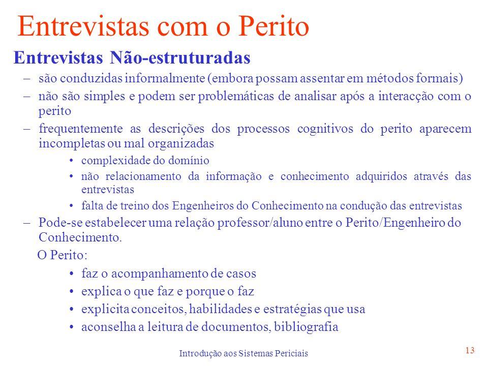 Introdução aos Sistemas Periciais 13 Entrevistas com o Perito Entrevistas Não-estruturadas –são conduzidas informalmente (embora possam assentar em mé