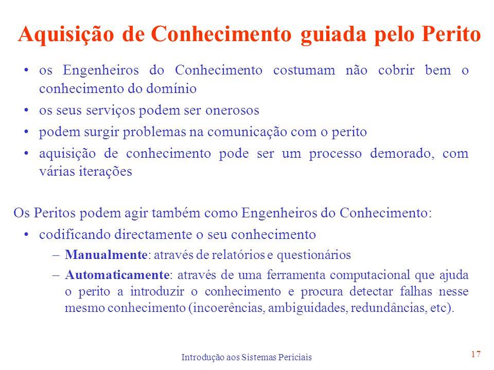 Introdução aos Sistemas Periciais 17 Aquisição de Conhecimento guiada pelo Perito os Engenheiros do Conhecimento costumam não cobrir bem o conheciment
