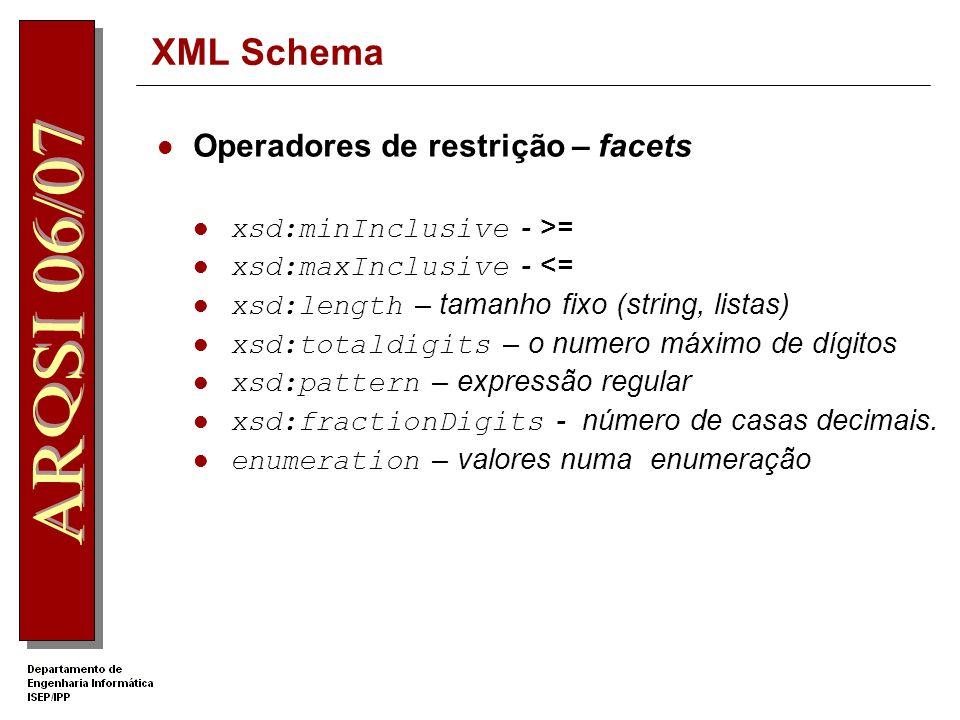 XML Schema Tipos simples derivados Derivação por restrição, lista ou união Elemento xsd:simpleType xsd:restriction define restrições adicionais aos va