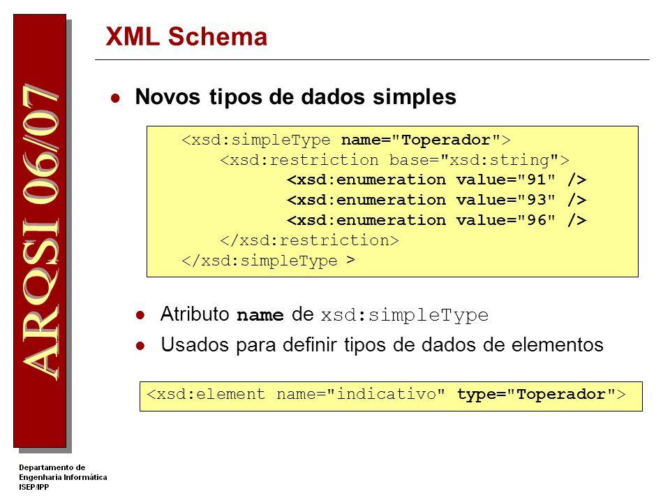 XML Schema Operadores de restrição – facets xsd:minInclusive - >= xsd:maxInclusive - <= xsd:length – tamanho fixo (string, listas) xsd:totaldigits – o