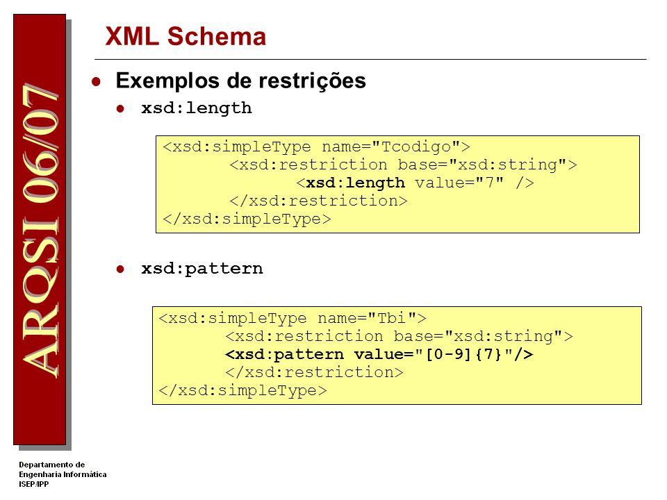 XML Schema Novos tipos de dados simples Atributo name de xsd:simpleType Usados para definir tipos de dados de elementos