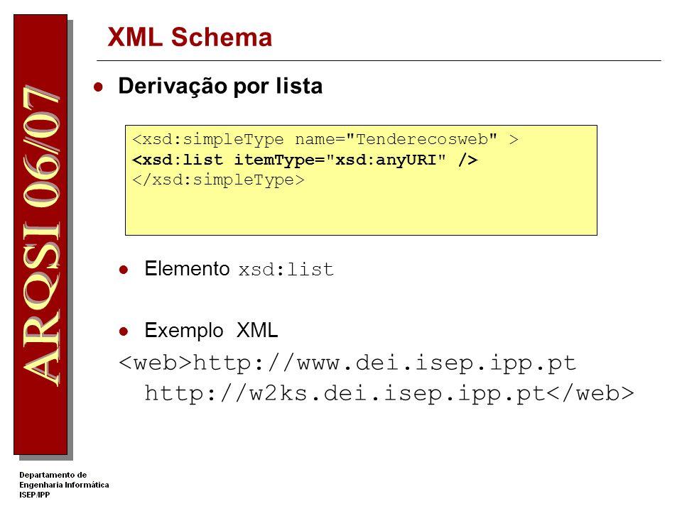 XML Schema Derivação por união Elemento xsd:union A instância pode conter um dos valores especificados pelo atributo memberTypes