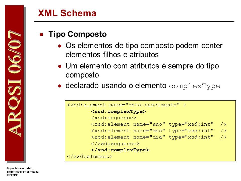 XML Schema Derivação por lista Elemento xsd:list Exemplo XML http://www.dei.isep.ipp.pt http://w2ks.dei.isep.ipp.pt