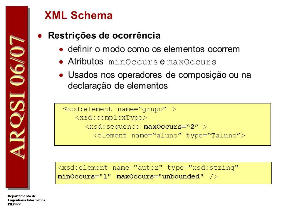 XML Schema Definição de um elemento com conteúdo simples: texto e atributo 3457654