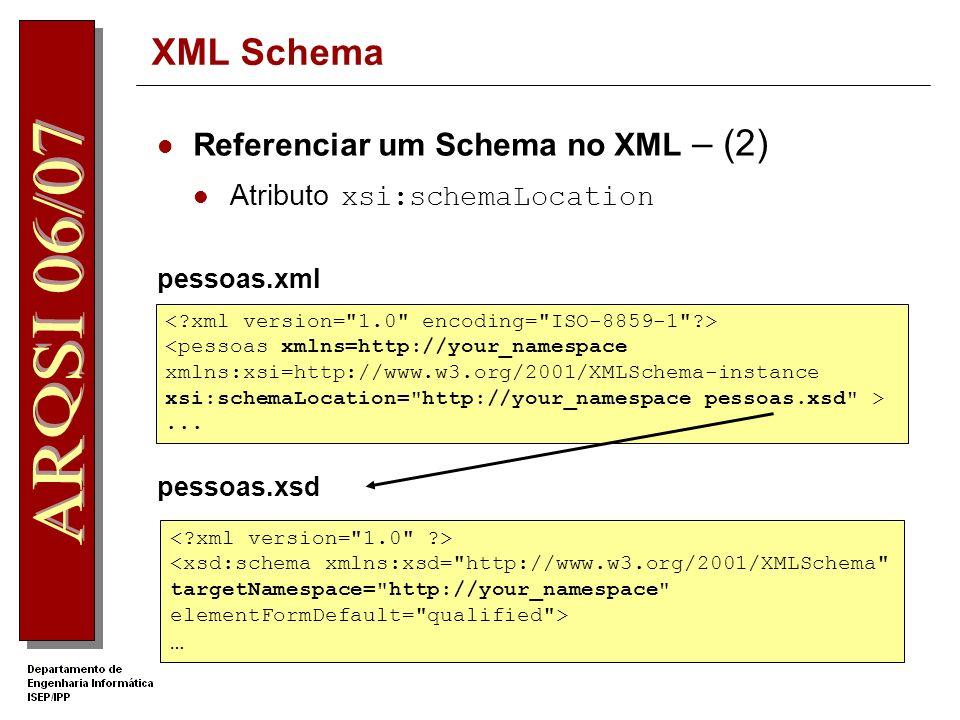 XML Schema Referenciar um Schema no XML – (1) Atributo xsi:noNamespaceSchemaLocation Documento pessoas.xsd <pessoas xmlns:xsi=