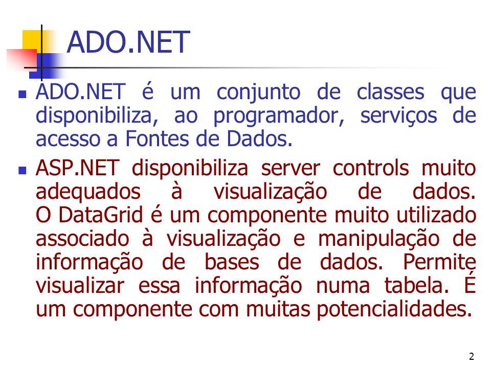 2 ADO.NET ADO.NET é um conjunto de classes que disponibiliza, ao programador, serviços de acesso a Fontes de Dados. ASP.NET disponibiliza server contr