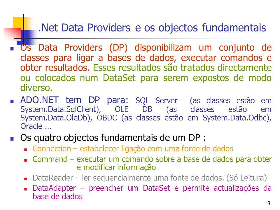 4 Query a numa Base de Dados OLE DB Criar um objecto OleDbConnection e passar-lhe a string de conexão String strPath=Server.MapPath( loja.mdb ); String strConn= Provider=Microsoft.Jet.OLEDB.4.0;Data Source= + strPath; System.Data.OleDb.OleDbConnection conn= new System.Data.OleDb.OleDbConnection(strConn); Abrir a ligação à Base de dados conn.Open(); Criar um objecto OleDbCommand atribuir-lhe o objecto ligação aberto e o comando sql System.Data.OleDb.OleDbCommand cmd= new System.Data.OleDb.OleDbCommand(); String strSql= Select * from categorias ; cmd.Connection=conn; cmd.CommandText=strSql; Executar o comando System.Data.OleDb.OleDbDataReader dtReader=cmd.