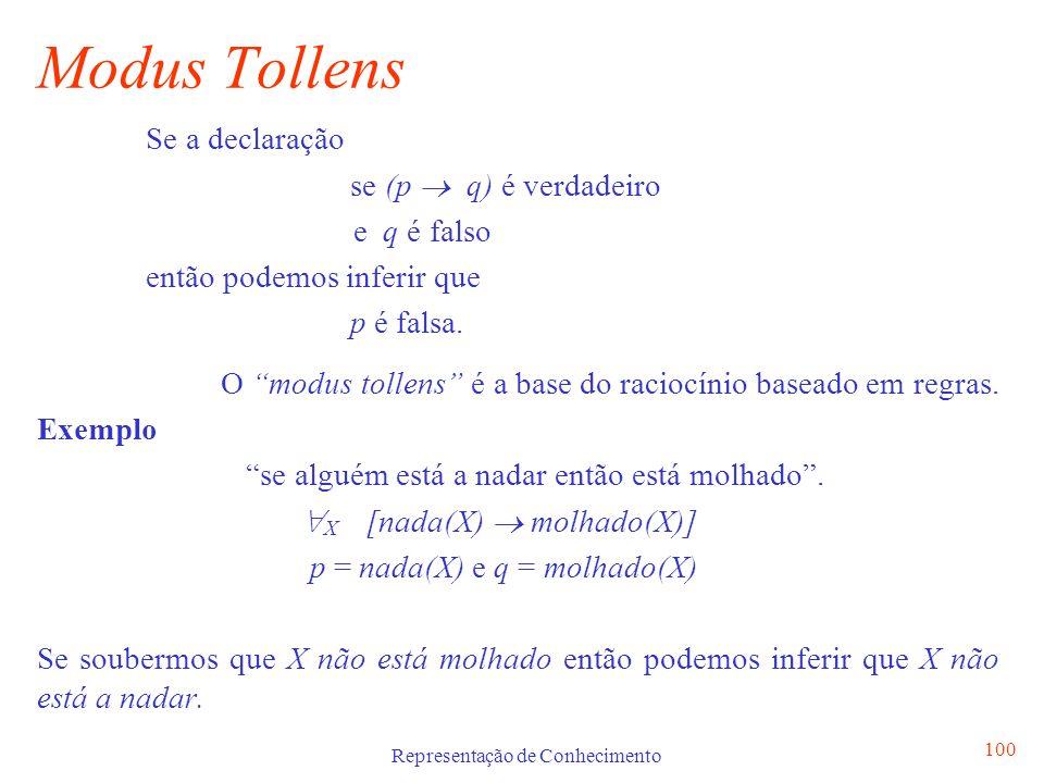 Representação de Conhecimento 100 Modus Tollens Se a declaração se (p q) é verdadeiro e q é falso então podemos inferir que p é falsa. O modus tollens