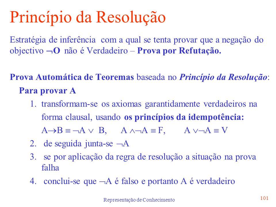 Representação de Conhecimento 101 Princípio da Resolução Estratégia de inferência com a qual se tenta provar que a negação do objectivo O não é Verdad
