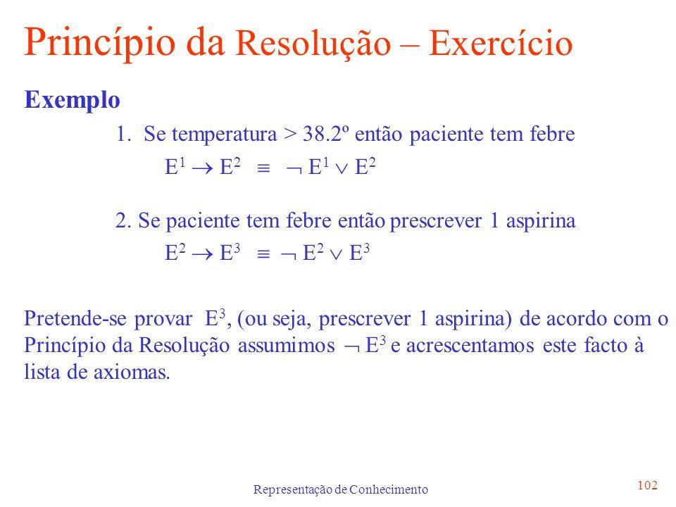 Representação de Conhecimento 102 Princípio da Resolução – Exercício Exemplo 1. Se temperatura > 38.2º então paciente tem febre E 1 E 2 E 1 E 2 2. Se