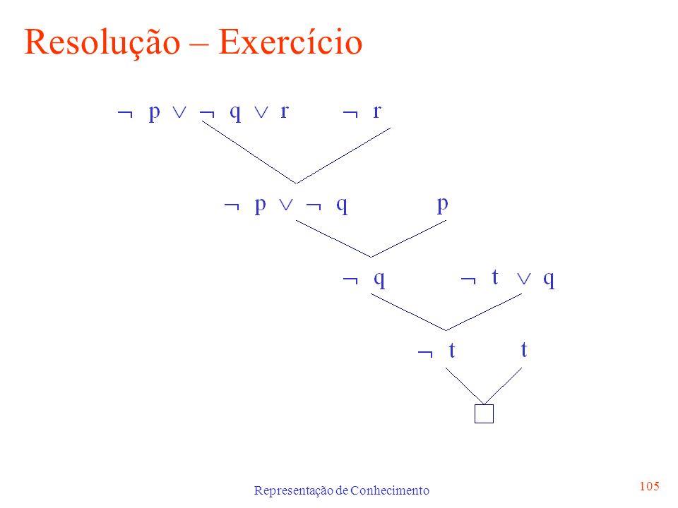 Representação de Conhecimento 105 Resolução – Exercício