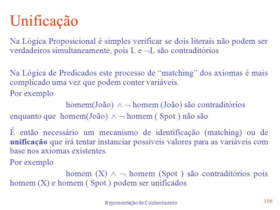 Representação de Conhecimento 106 Unificação Na Lógica Proposicional é simples verificar se dois literais não podem ser verdadeiros simultaneamente, p