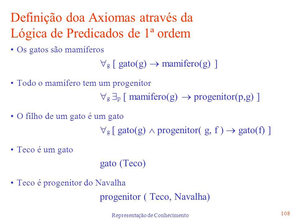 Representação de Conhecimento 108 Definição doa Axiomas através da Lógica de Predicados de 1ª ordem Os gatos são mamíferos g [ gato(g) mamifero(g) ] T