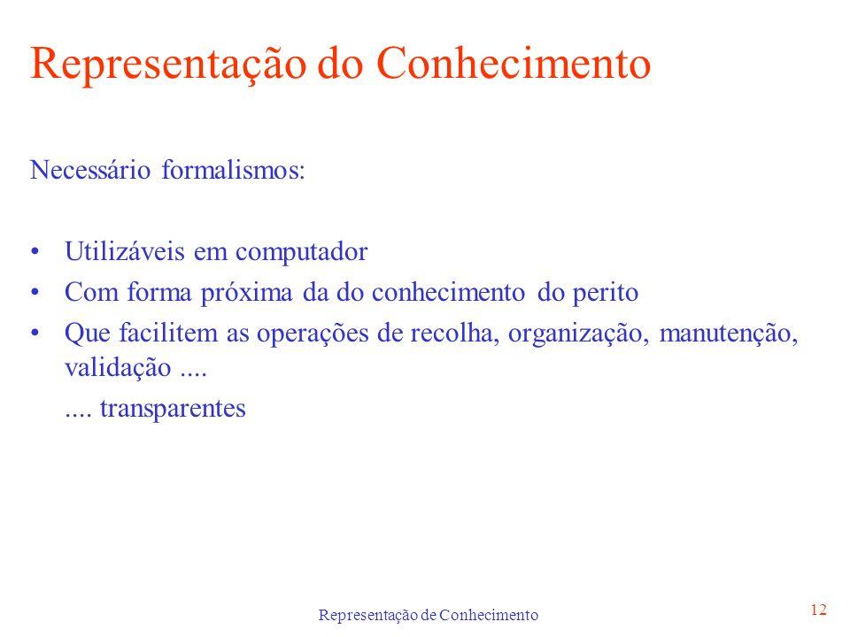 Representação de Conhecimento 12 Representação do Conhecimento Necessário formalismos: Utilizáveis em computador Com forma próxima da do conhecimento