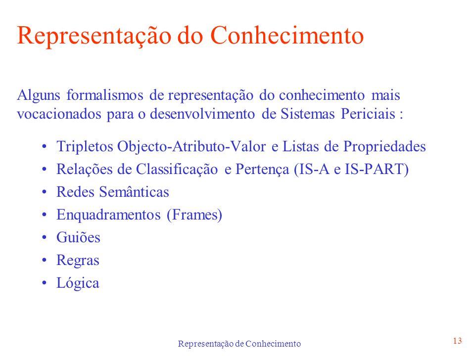 Representação de Conhecimento 13 Representação do Conhecimento Alguns formalismos de representação do conhecimento mais vocacionados para o desenvolvi