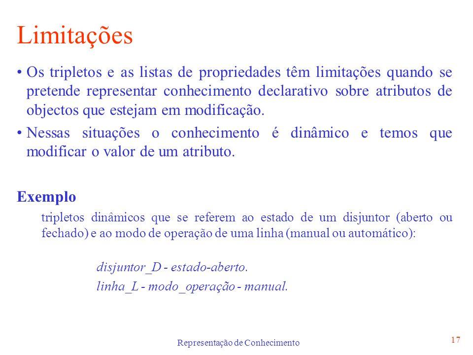 Representação de Conhecimento 17 Limitações Os tripletos e as listas de propriedades têm limitações quando se pretende representar conhecimento declar