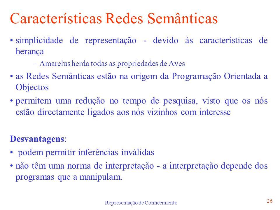 Representação de Conhecimento 26 Características Redes Semânticas simplicidade de representação - devido às características de herança – Amarelus herd
