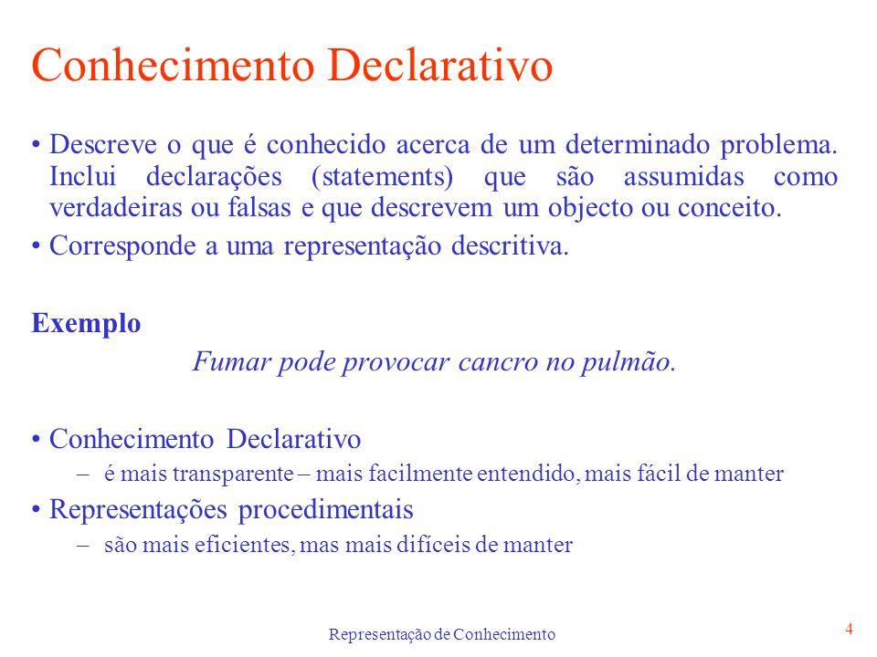 Representação de Conhecimento 4 Conhecimento Declarativo Descreve o que é conhecido acerca de um determinado problema. Inclui declarações (statements)