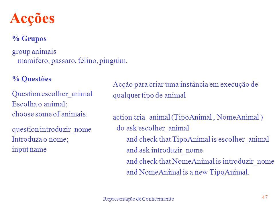 Representação de Conhecimento 47 Acções Acção para criar uma instância em execução de qualquer tipo de animal action cria_animal (TipoAnimal, NomeAnim