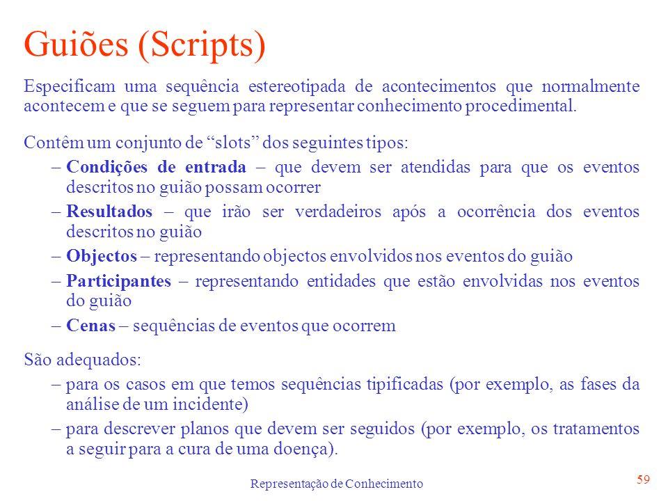 Representação de Conhecimento 59 Guiões (Scripts) Especificam uma sequência estereotipada de acontecimentos que normalmente acontecem e que se seguem