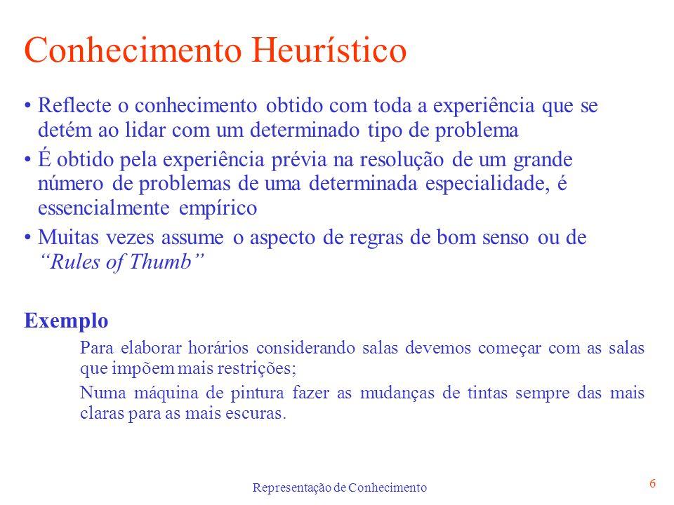 Representação de Conhecimento 6 Conhecimento Heurístico Reflecte o conhecimento obtido com toda a experiência que se detém ao lidar com um determinado