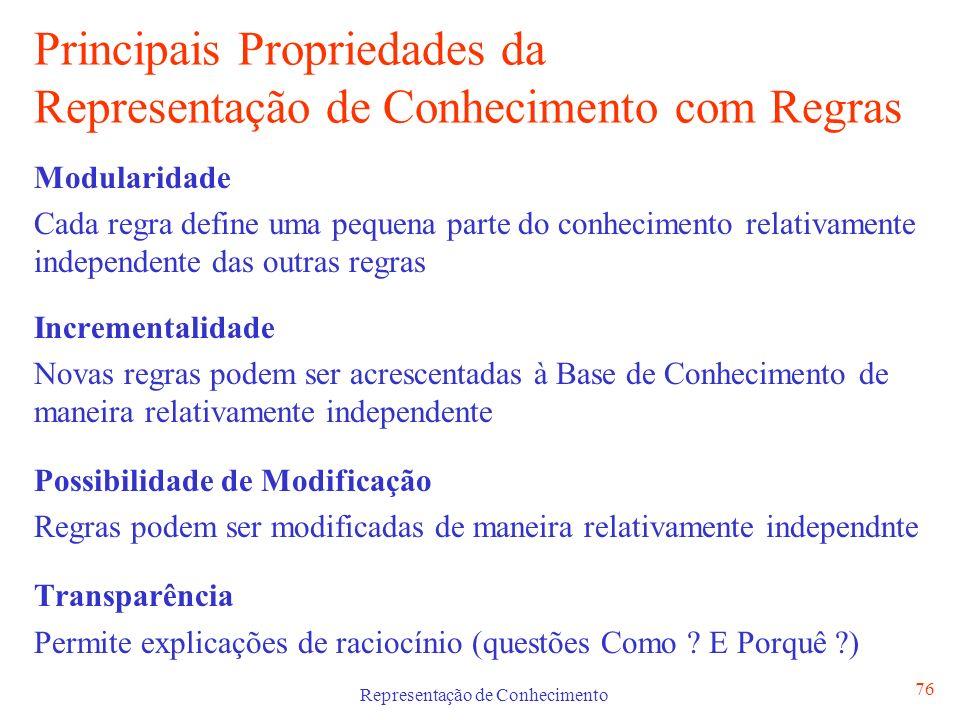 Representação de Conhecimento 76 Principais Propriedades da Representação de Conhecimento com Regras Modularidade Cada regra define uma pequena parte
